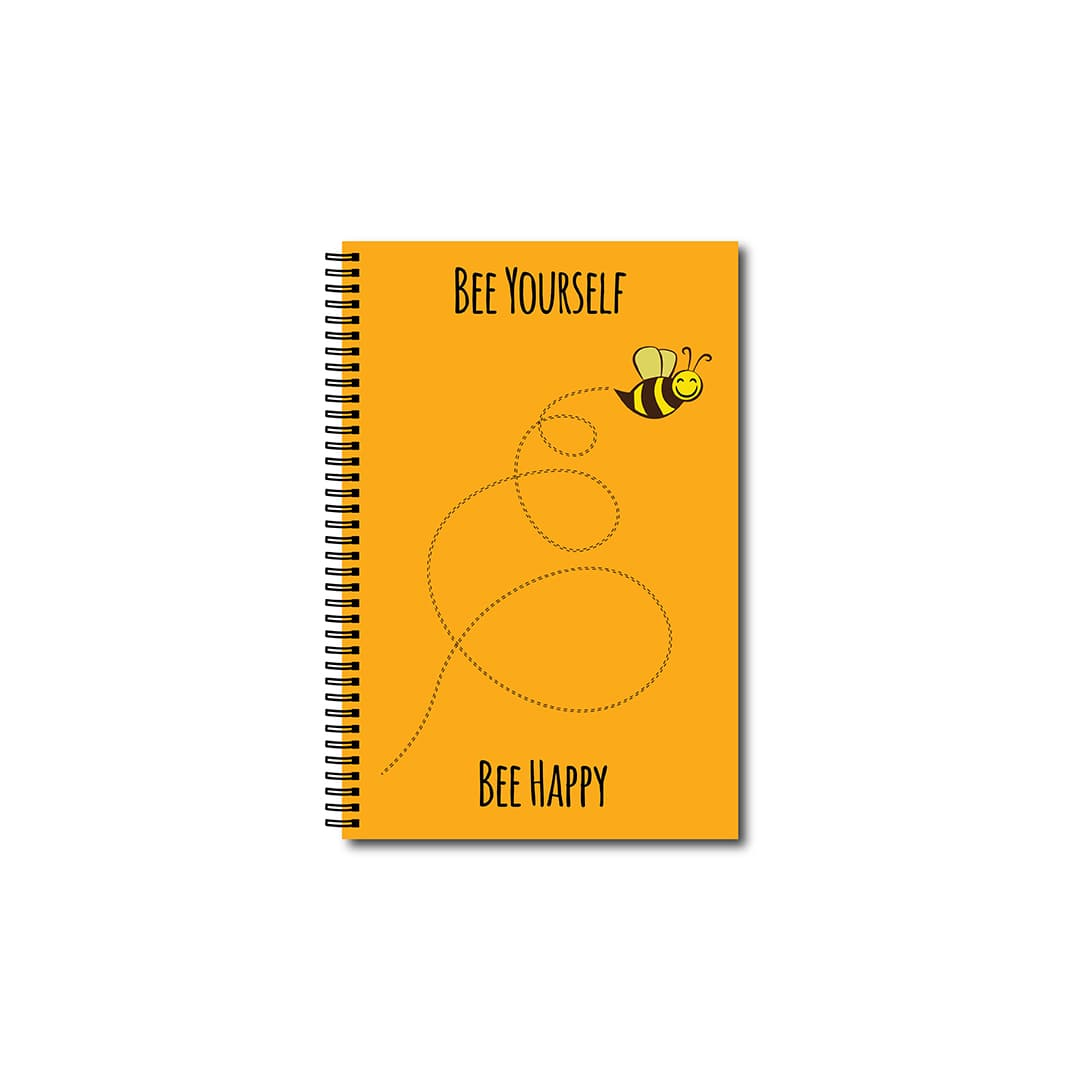 Swag Swami Bee Yourself Bee Happy Quirky Notebook Front