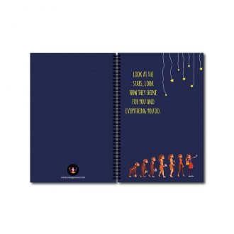 swag swami stars and selfie evolution quirky notebook front and back