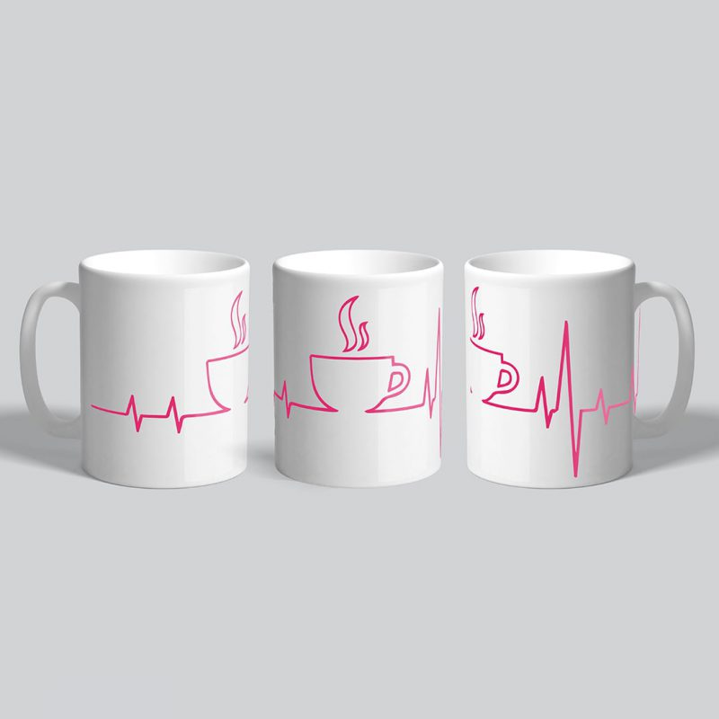 coffee is in my heartbeat coffee mug