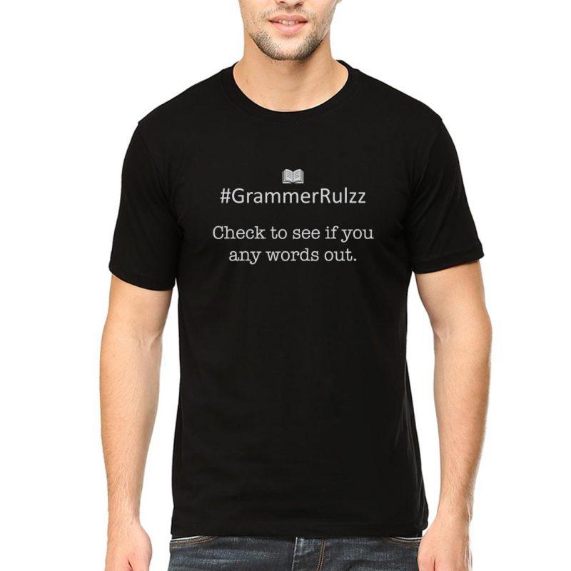 grammar rules sarcasm left out words men round neck t shirt black front
