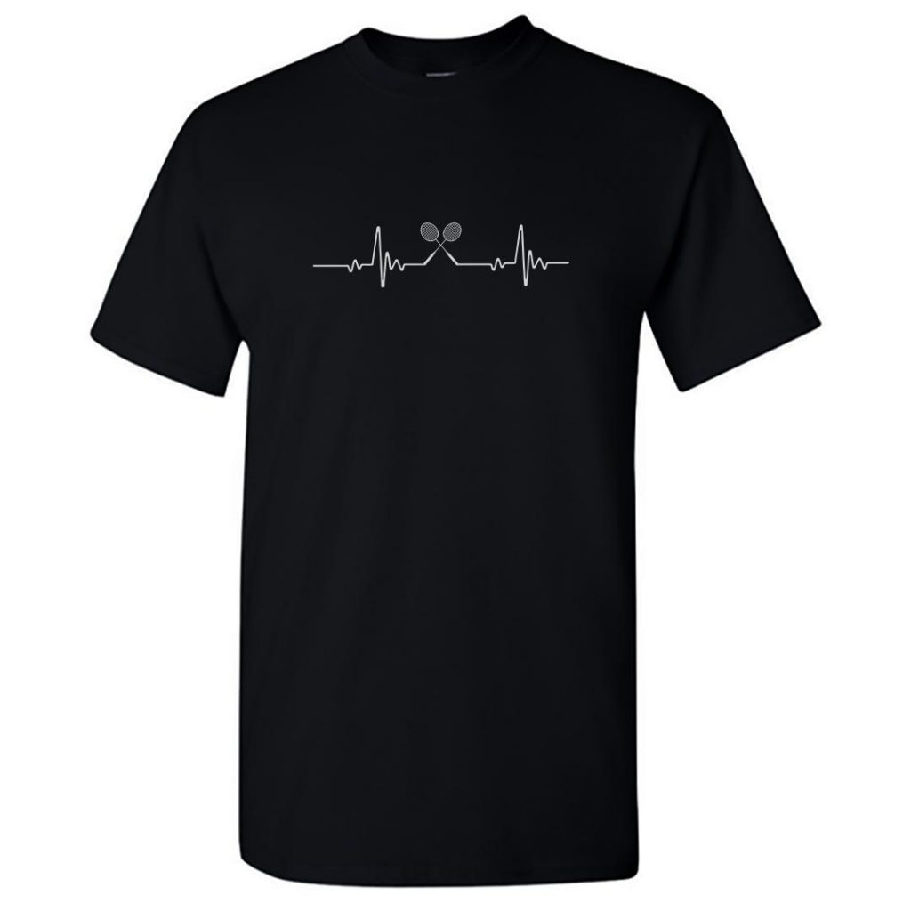 badminton its in my heartbeat round neck t shirt black front