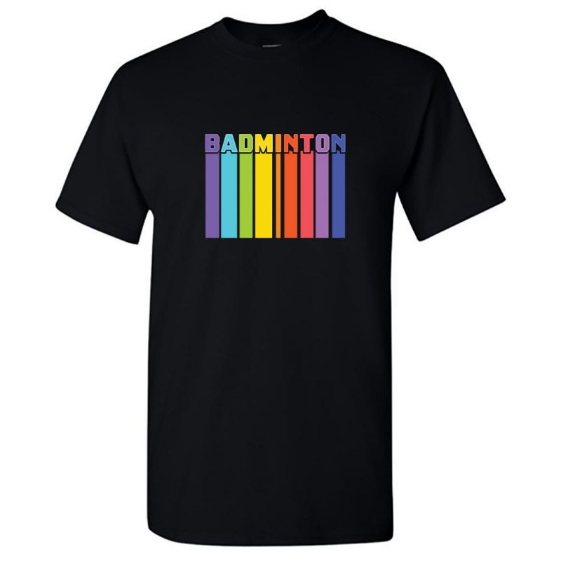 badminton tall colourful round neck t shirt black front