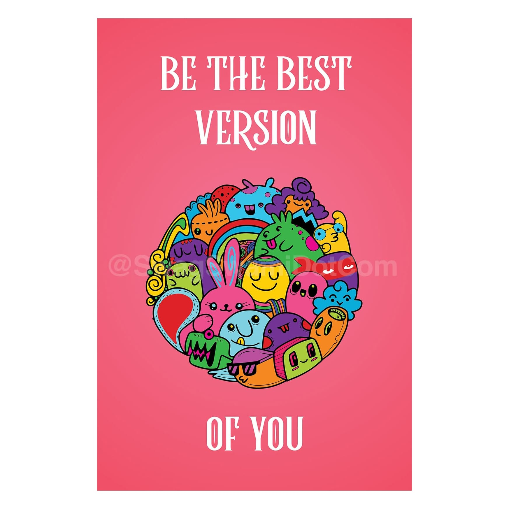 Be The Best Version Of Yourself Cute Cartoon Motivational Poster 1