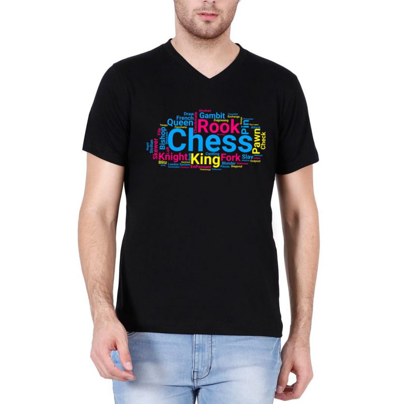 chess pieces moves and terminology word cloud men v neck t shirt black front