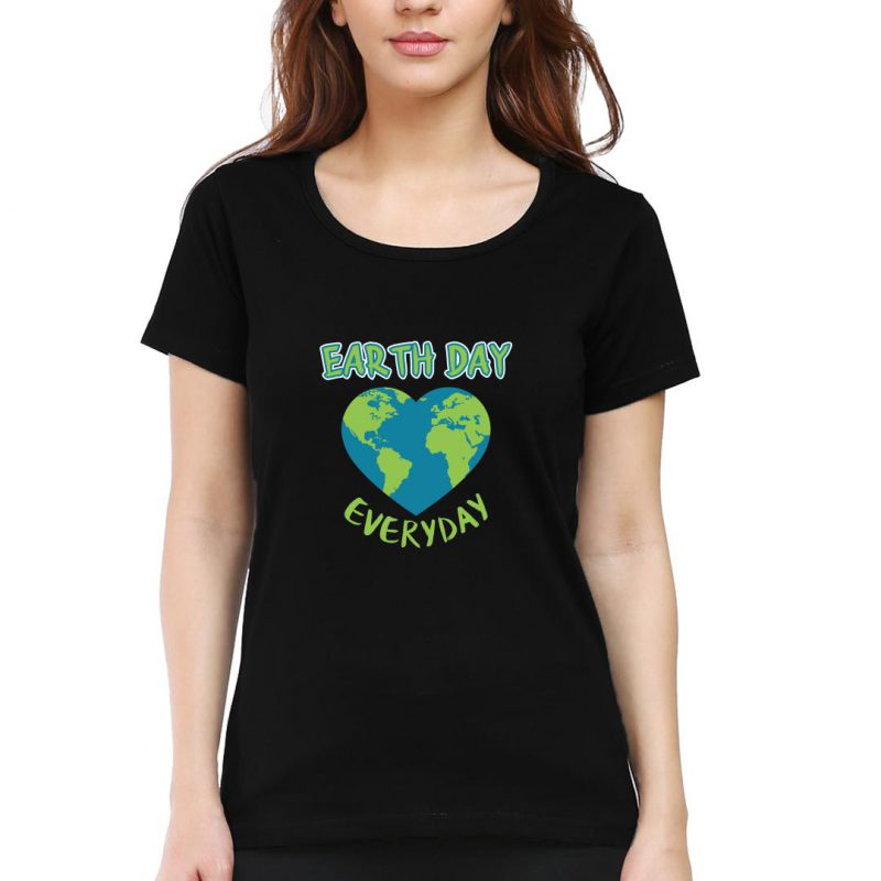 earth day everyday women round neck t shirt black front