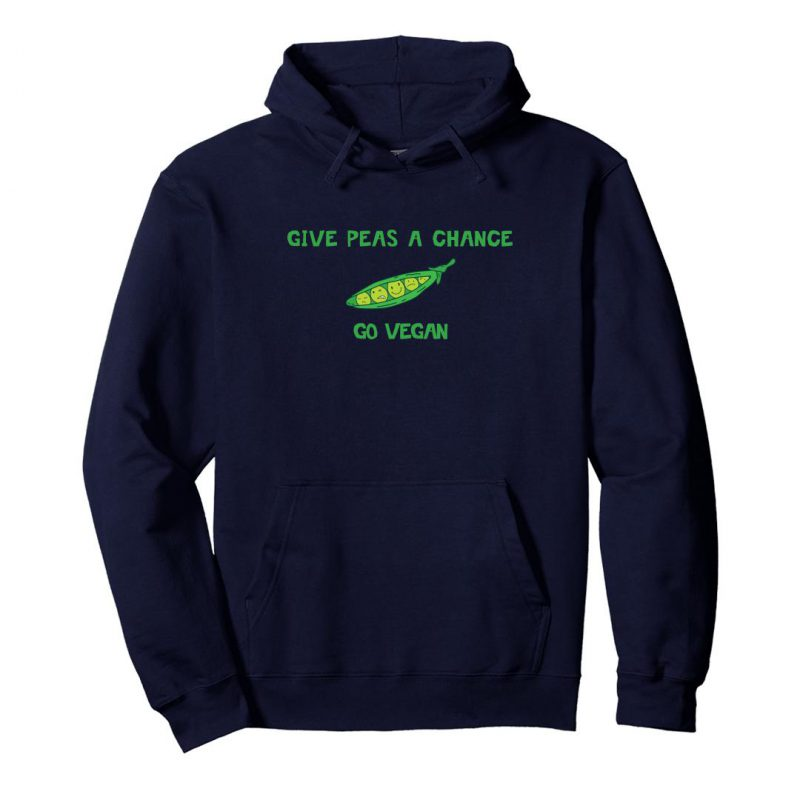 give peas a chance go vegan unisex hoodie navy front