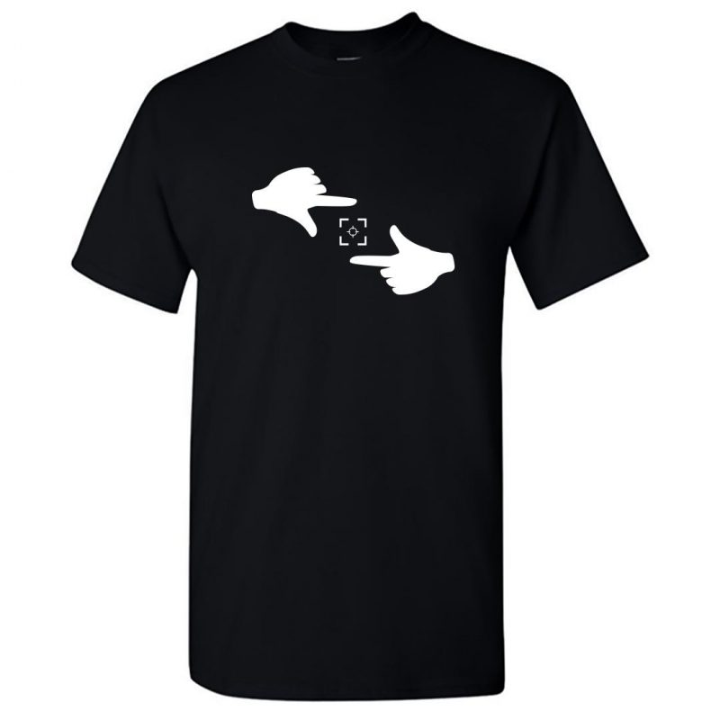 hand snap cool photography round neck t shirt black front