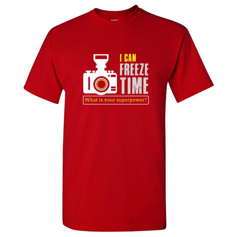 i can freeze time what is your superpower photographer round neck t shirt red front