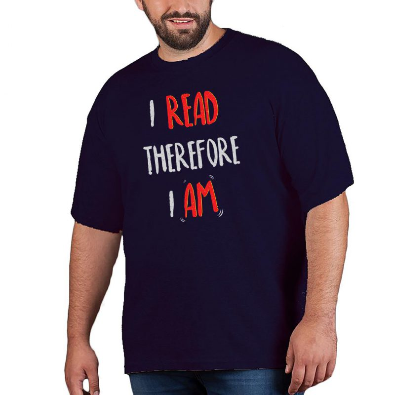 i read therefore i am men plus size t shirt navy front