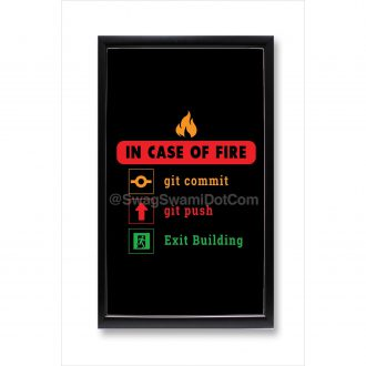 in case of fire git commit git push exit building funny coding poster framed