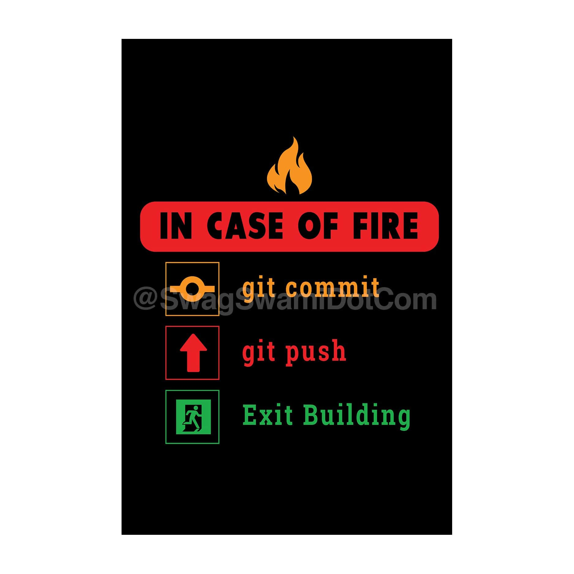 In Case Of Fire Git Commit Git Push Exit Building Funny Coding Poster