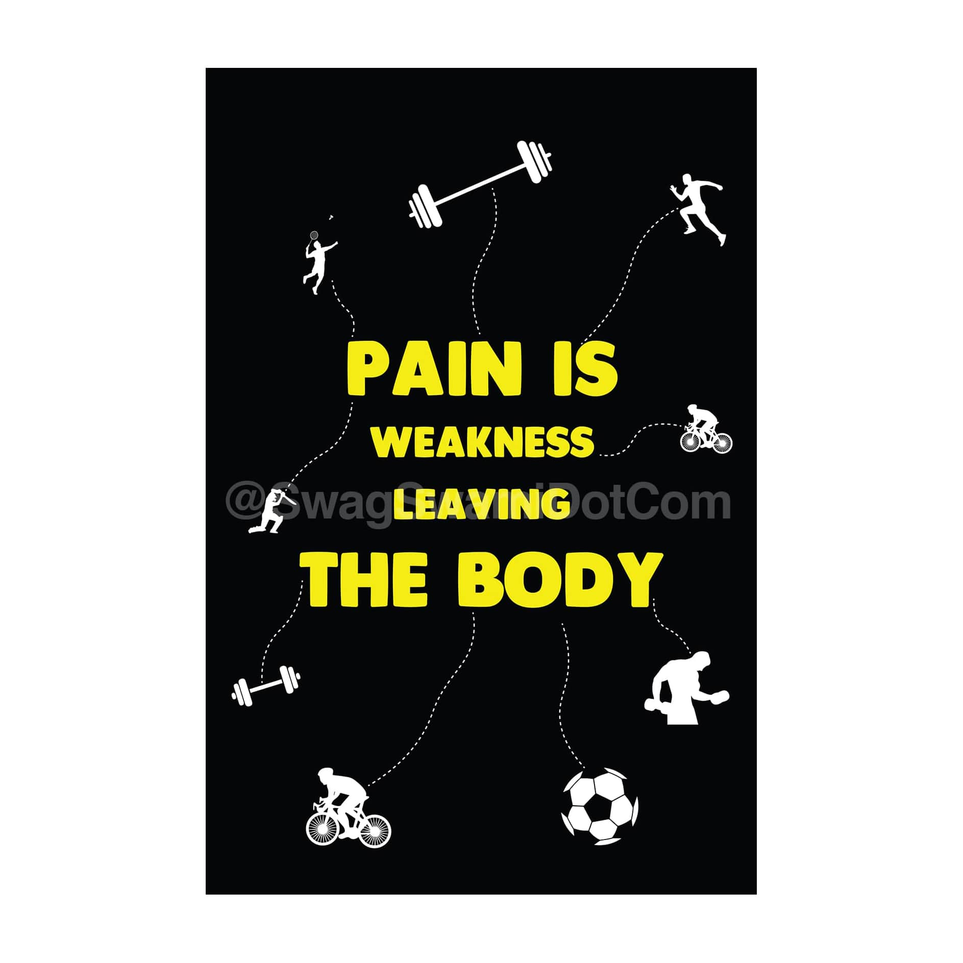 Pain Is Weakness Leaving The Body Fitness Workout Motivation Poster