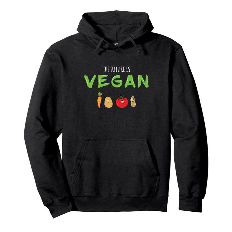 the future is vegan unisex hoodie black front