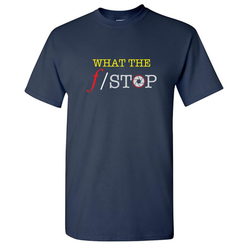 what the f stop funny photography round neck t shirt navy front