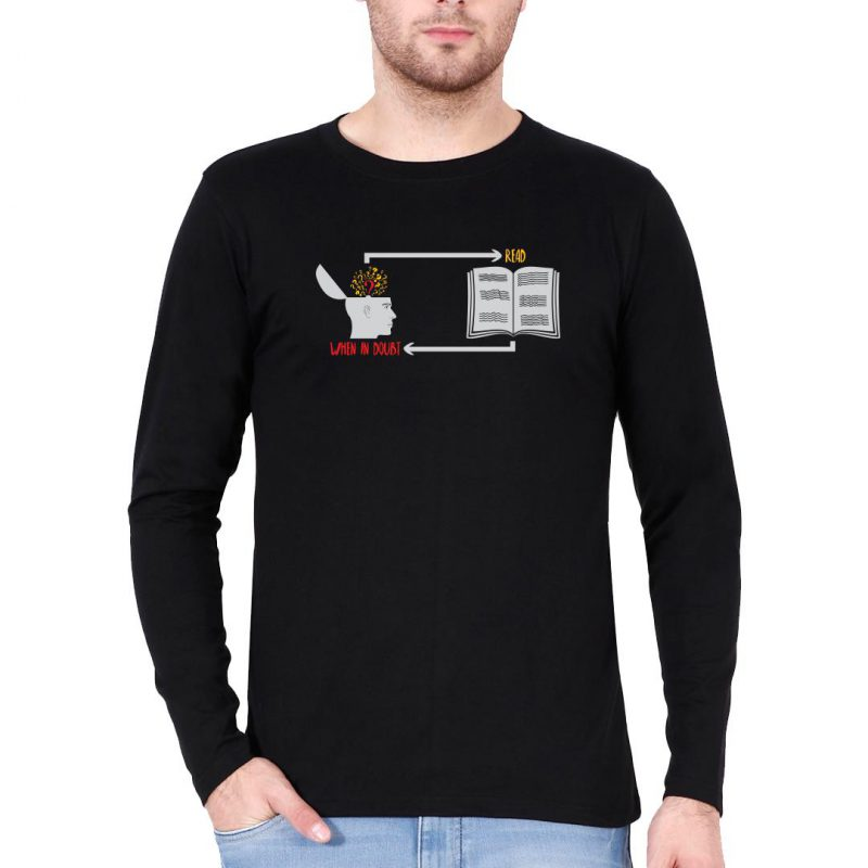when in doubt read men full sleeve t shirt black front