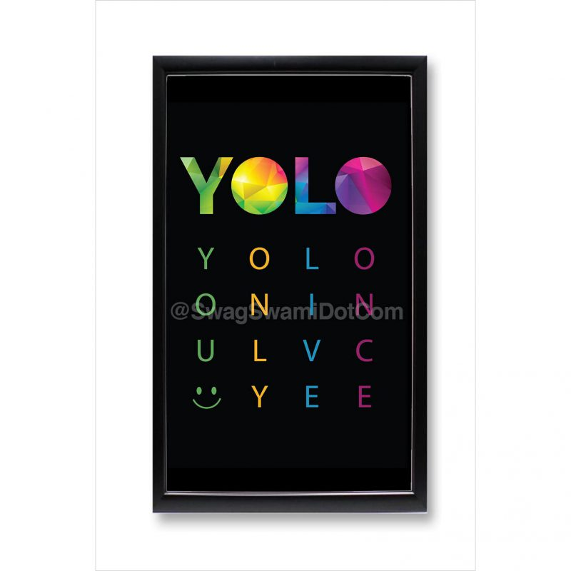 yolo you only live once colourful motivational poster framed
