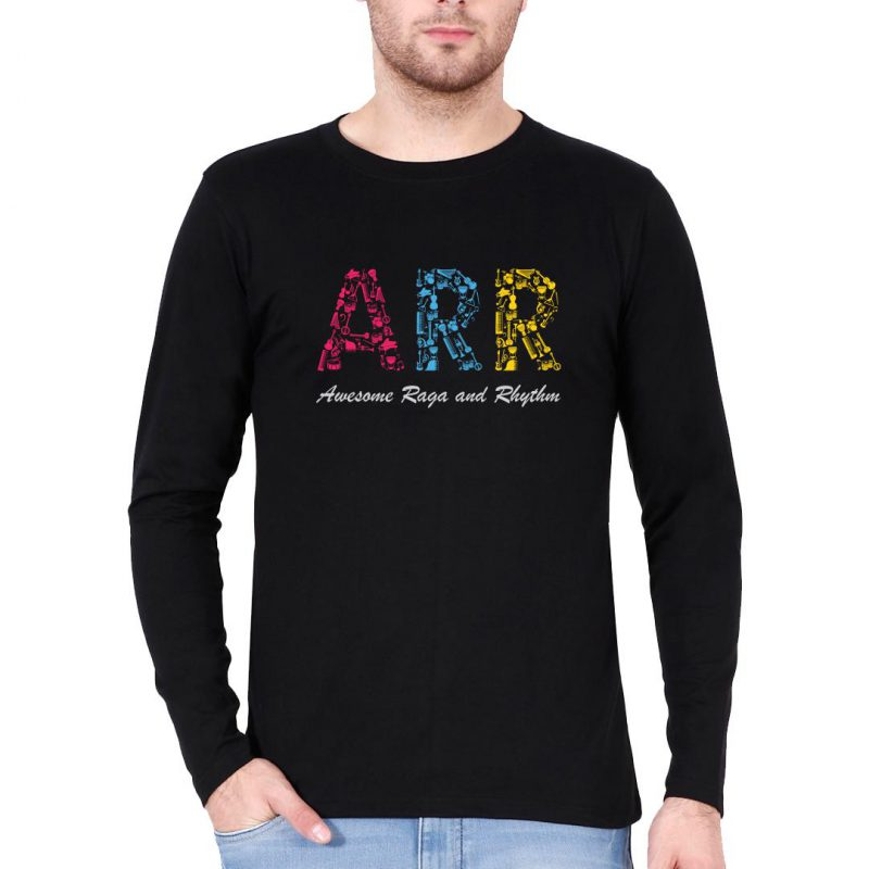 arr awesome raga and rhythm music love men full sleeve t shirt black front