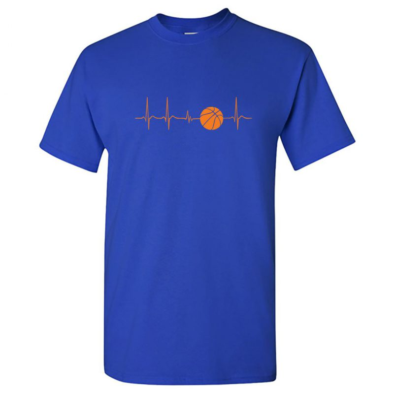 basketball its in my heartbeat round neck t shirt royal blue front