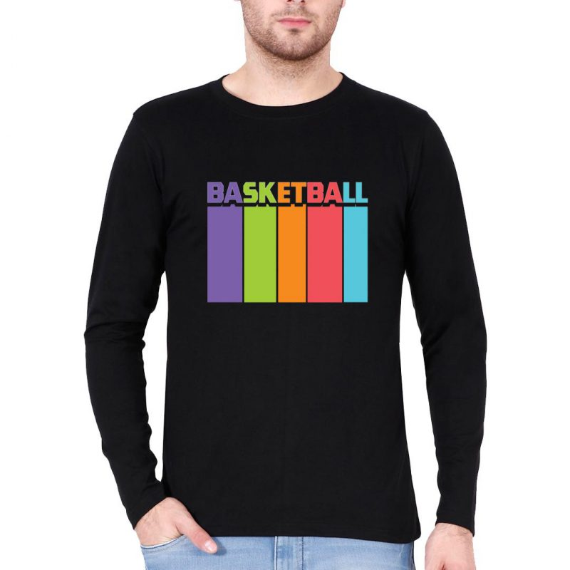 basketball tall and colourful men full sleeve t shirt black front