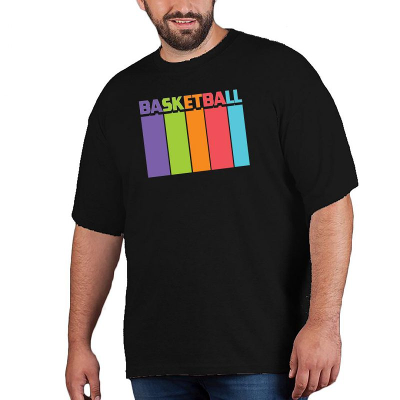 basketball tall and colourful men plus size t shirt black front