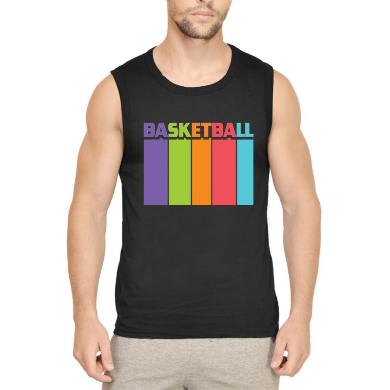 basketball tall and colourful men sleeveless t shirt black front
