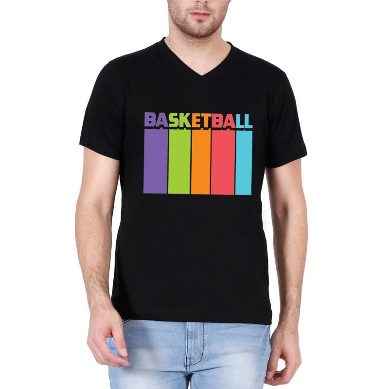 basketball tall and colourful men v neck t shirt black front