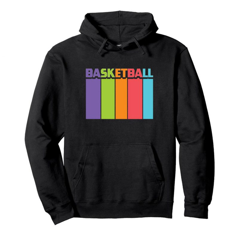 basketball tall and colourful unisex hoodie black front