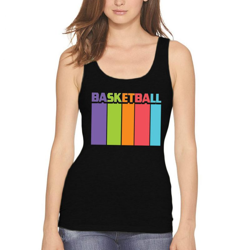 basketball tall and colourful women tank top black front