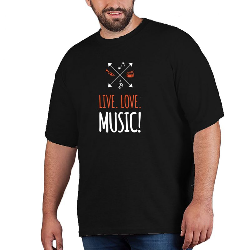 live love music and musical instruments men plus size t shirt black front