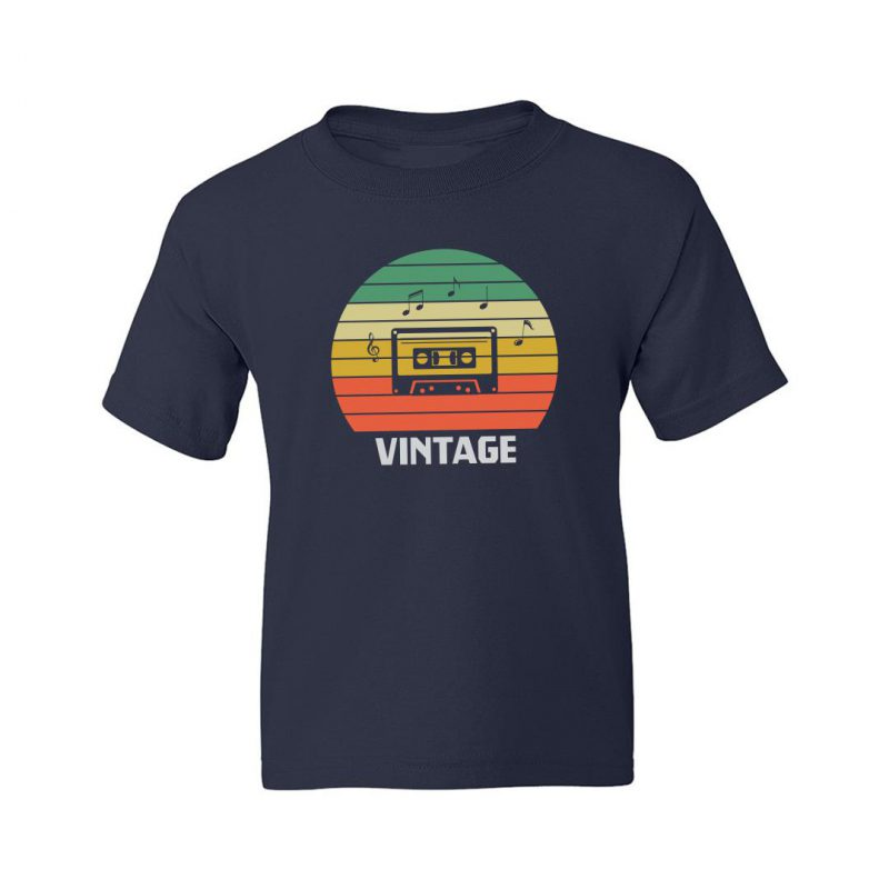 vintage music 80s 90s music lover kids t shirt navy front