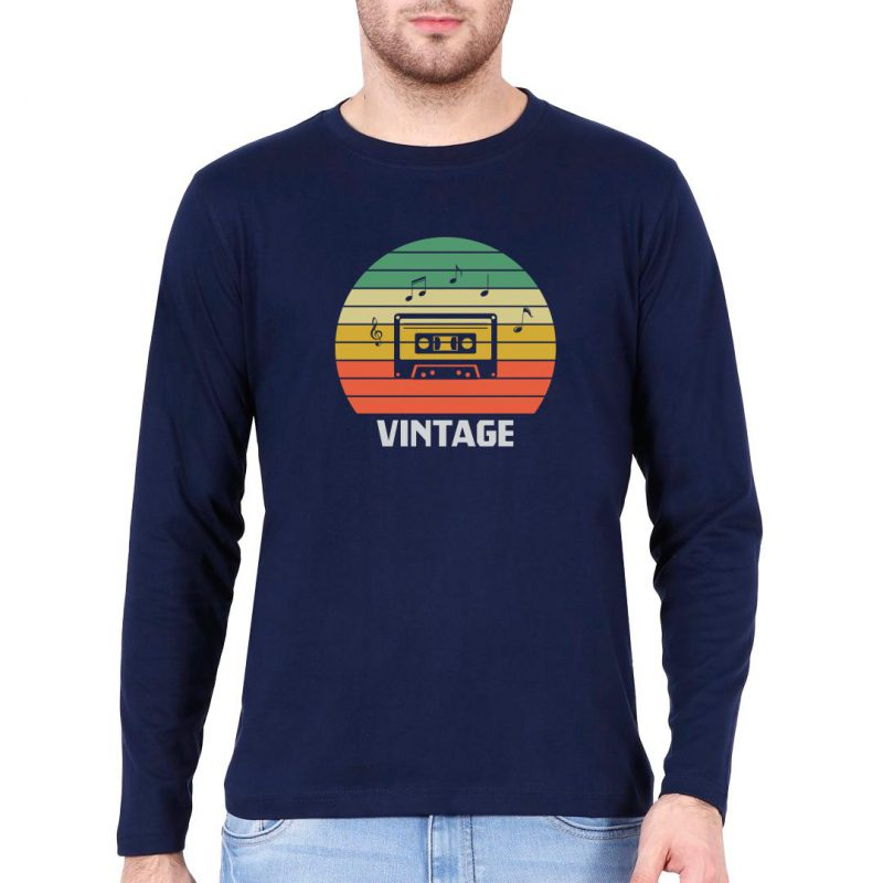 vintage music 80s 90s music lover men full sleeve t shirt navy front