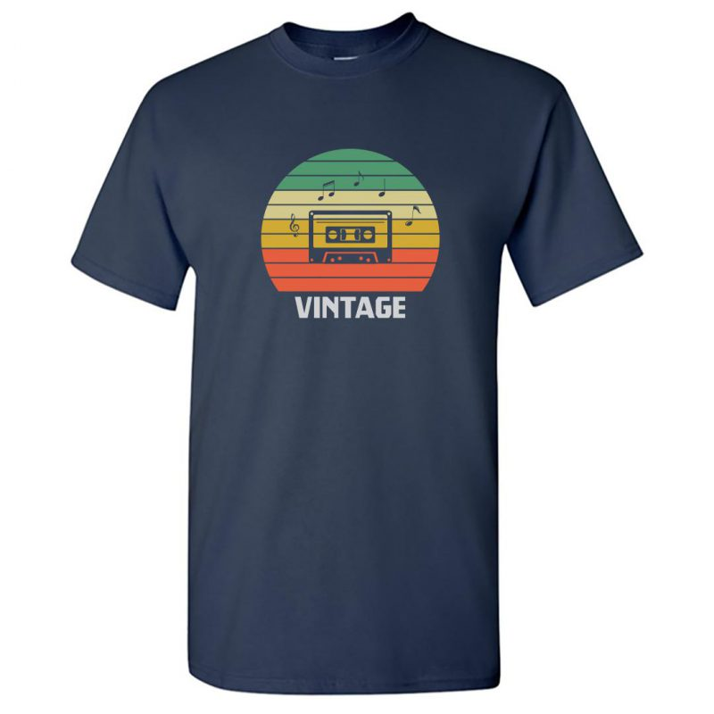 vintage music 80s 90s music lover round neck t shirt navy front