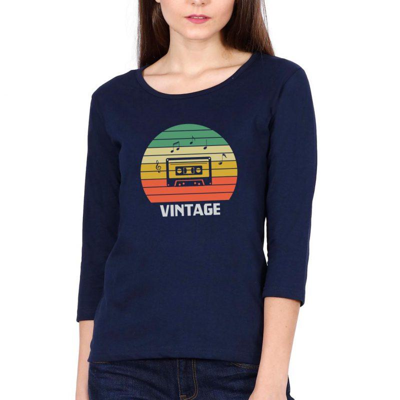 vintage music 80s 90s music lover women full sleeve t shirt navy front