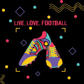 live love football colourful abstract football boots
