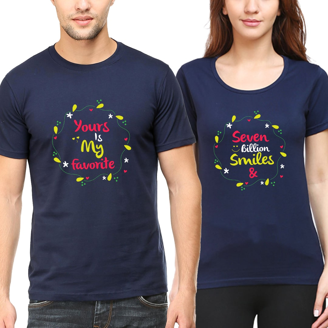 7 Billion Smiles Yours Is Favourite Cute Couple T Shirts India Navy