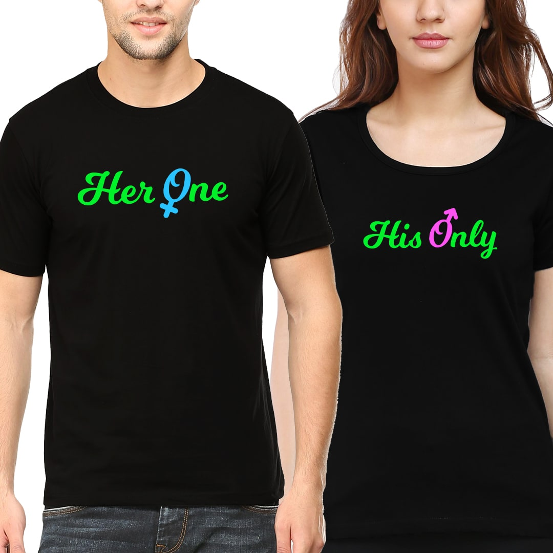 Her One His Only Couple T Shirt India Black