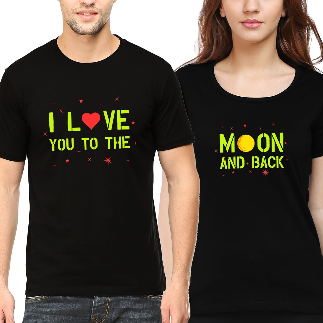 Love You To The Moon And Back Cute Couple T Shirts India Black