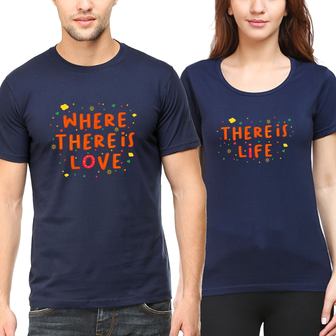 Where Love Life Cute Couple T Shirts India Navy