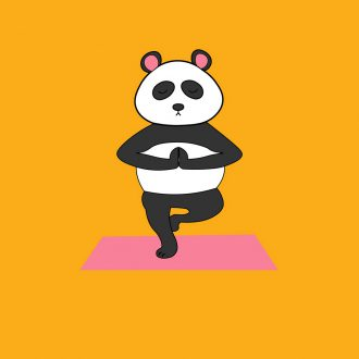 cute panda yoga deep meditation