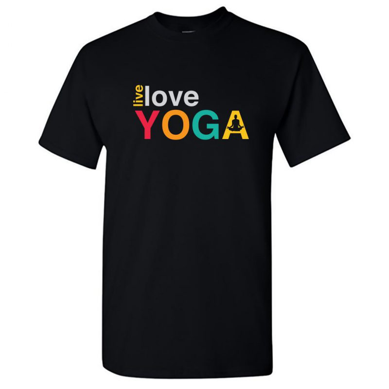 live love yoga for indian yoga classes round neck t shirt black front