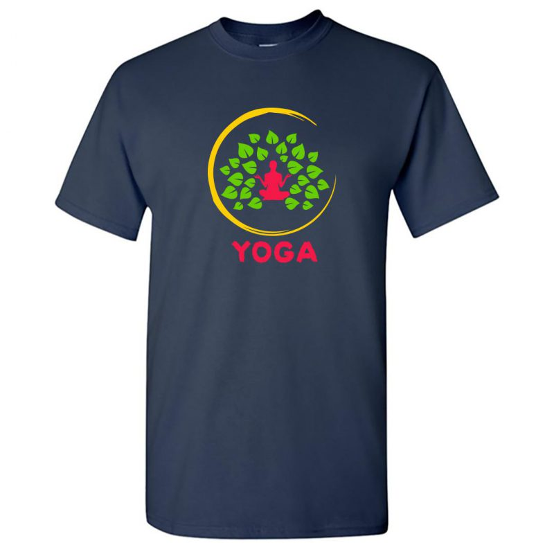 pride of india meditation yoga class round neck t shirt navy front
