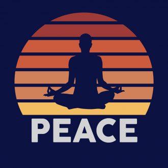 yoga meditation equals peace indian retro style