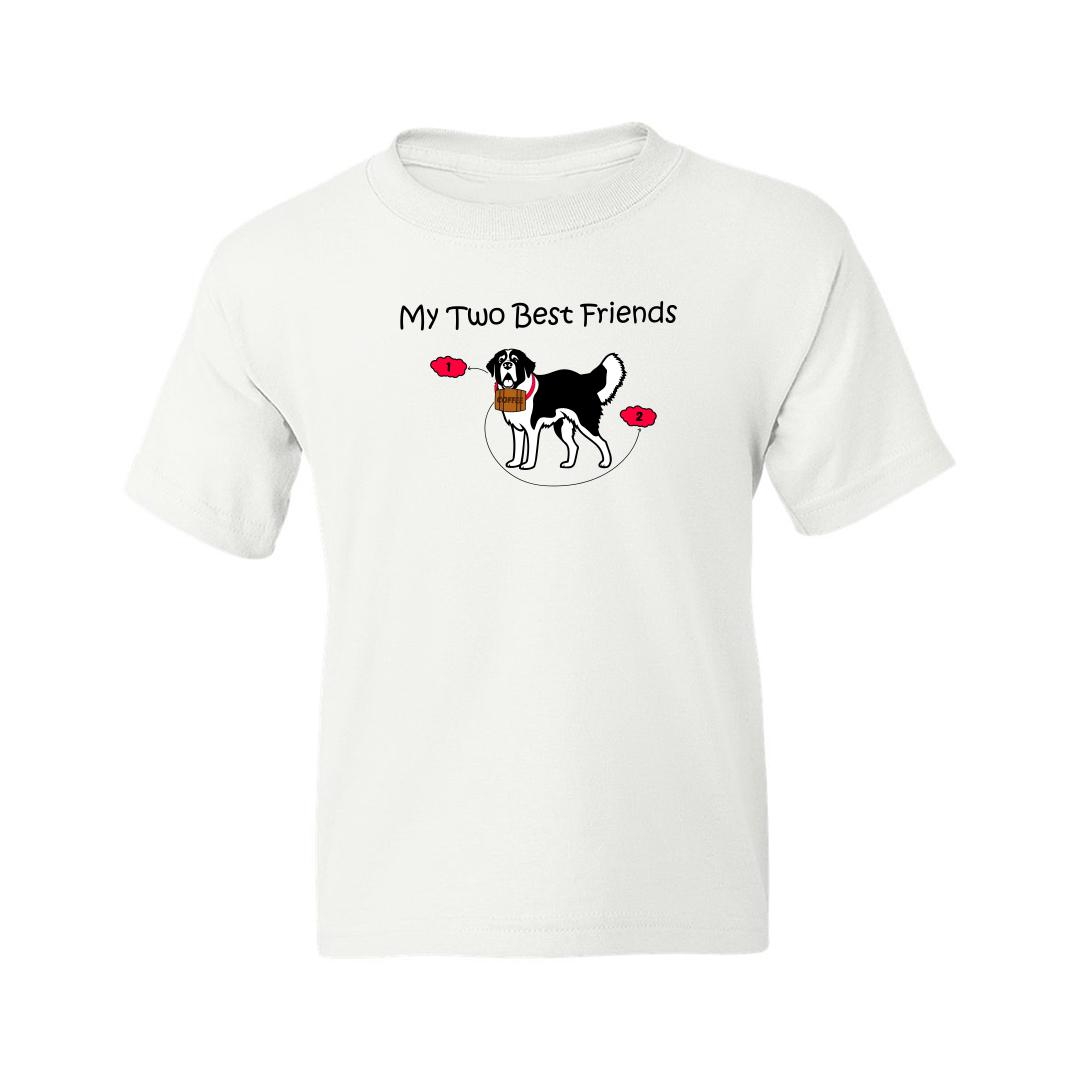 020e2450 My Two Best Friends Dog And Coffee Kids T Shirt White Front
