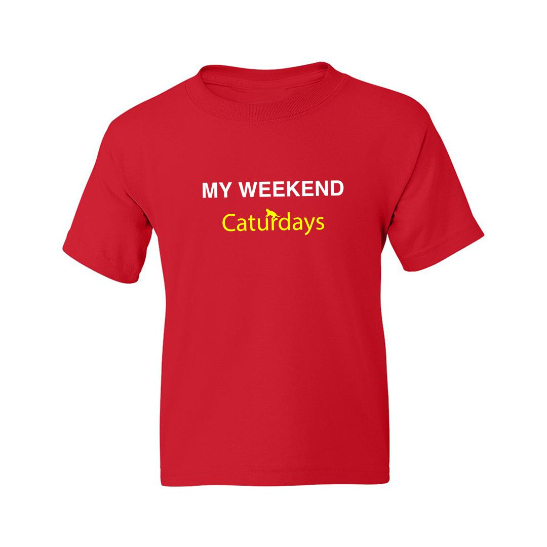 1ca8aff9 My Weekends Are Caturdays Cute Pet Cat Kids T Shirt Red Front