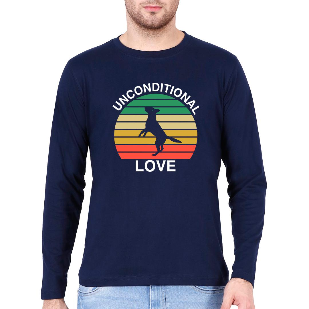 1d1854a1 Unconditional Love Cute Pet Dog Canine Love Vintage Men Full Sleeve T Shirt Navy Front