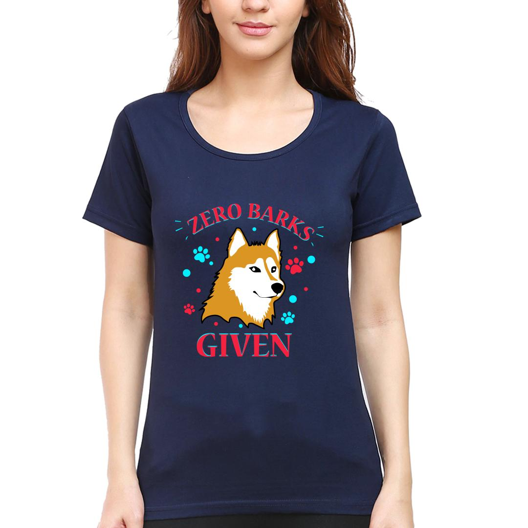 1f376086 Zero Barks Given Cool Dog Attitude For Canine Lover Women Round Neck T Shirt Navy Front