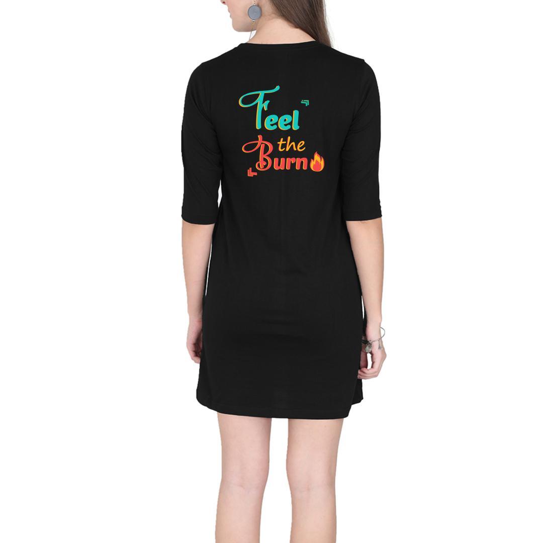 2bbe516d Feel The Burn Marathon Running Pain Motivation Women T Shirt Dress Black Back