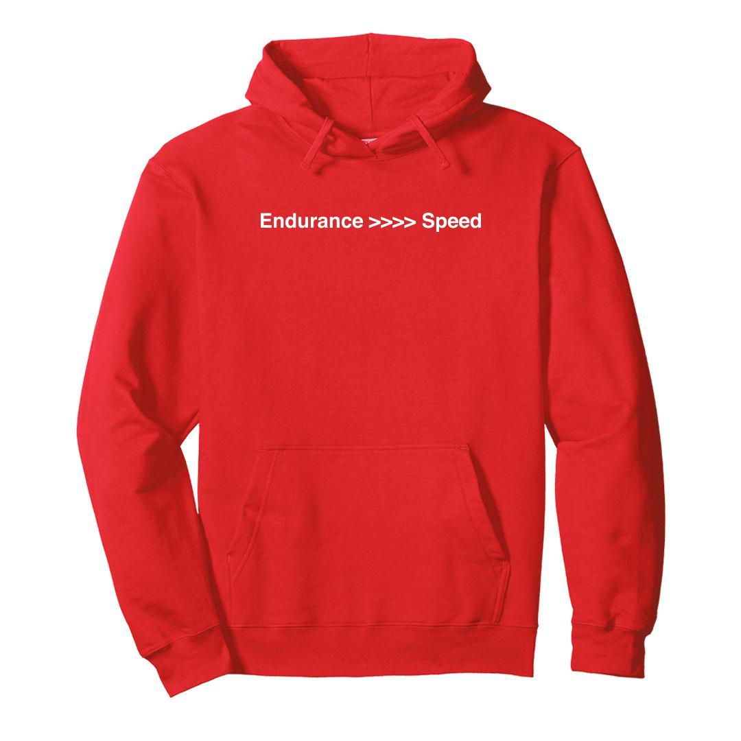 2fc7df44 Endurance Better Than Speed Marathon Running Motivation Unisex Hoodie Red Front