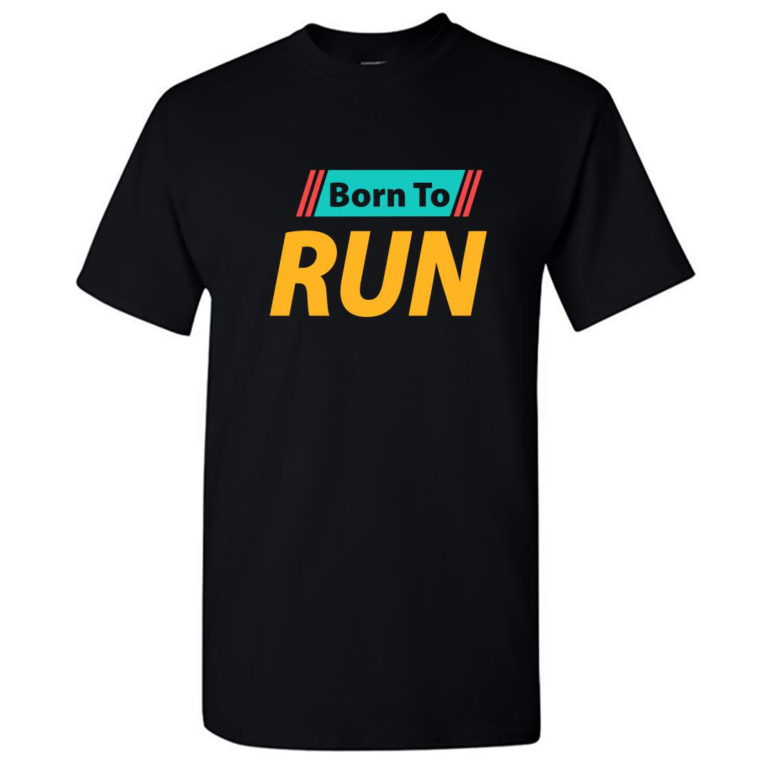 39c0d909 Born To Run For Running Enthusiast Runner Round Neck T Shirt Black Front