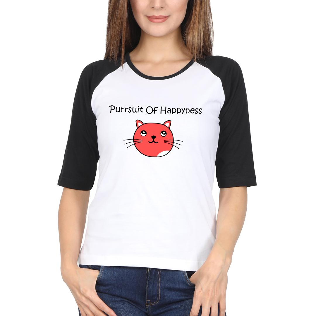 3bec8911 Purrsuit Of Happyness For Cat Lovers Women Raglan T Shirt Black White Front